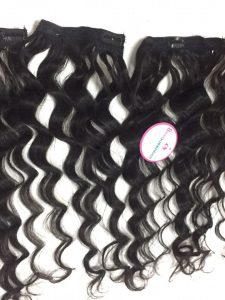 HUMAN HAIR CLIP IN #1B BODY WAVY 22 inch