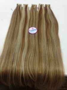 HUMAN HAIR TAPE IN, 24 INCHES, STRAIGHT, MIXES COLOR 613 AND 27