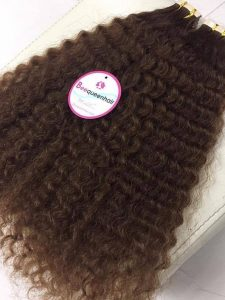 TAPE IN CURLY, VIETNAMESE HUMAN HAIR, COLOR 6, 18 INCHES