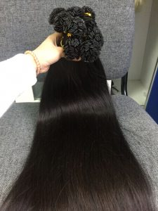 HUMAN HAIR FLAT TIP STRAIGHT #1B, 24 INCHES
