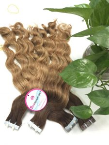 VIRGIN HAIR TAPE HAIR OMBRE 4/12, 20 INCHES BODY WAVY (1)