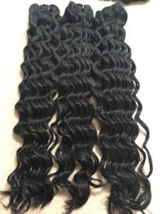 VIRGIN HAIR WEFT DEEP WAVY 20 inch COLOR 1b