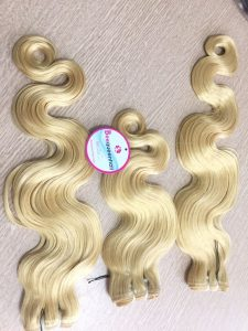 Water body wavy hair blonde color