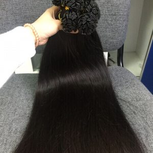 Human Hair Flat Tip Straight #1b 3