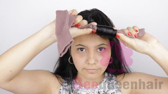 Wrap the ends of your hair around the sock