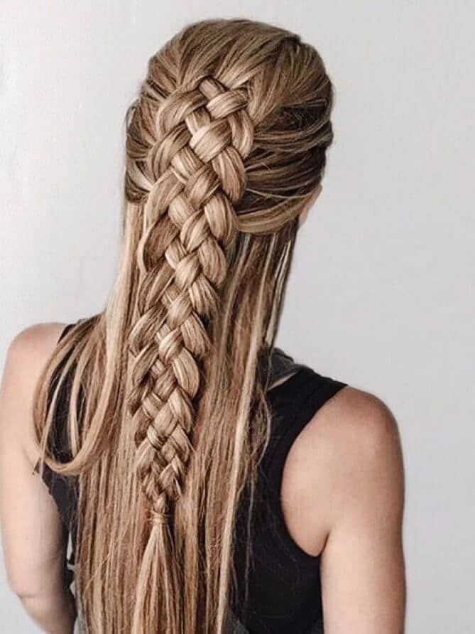 Braid Four Strands To Create A Full Braid Over Your Long Hair