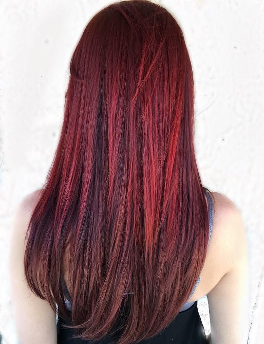 Burgundy Straight Hairstyle