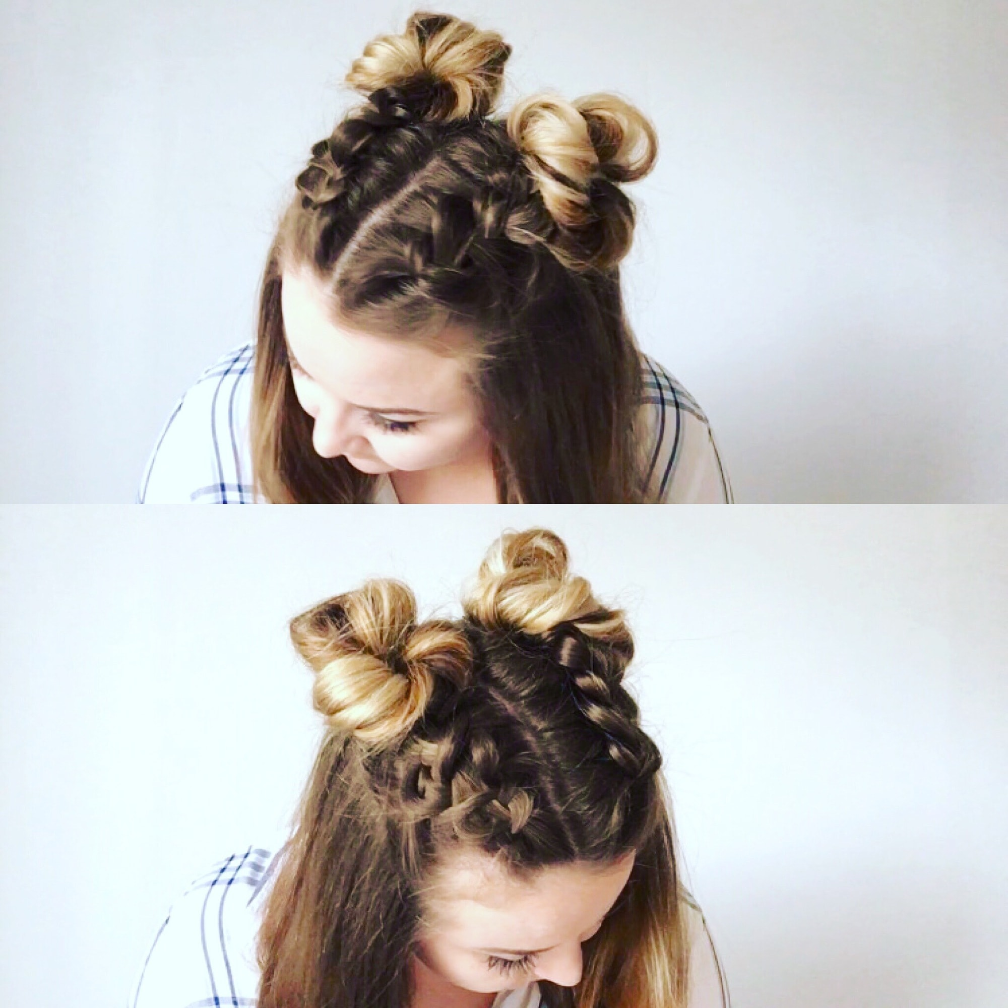 Double Buns With Braids