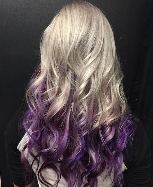 Platinum Blonde With Lavender Highlights