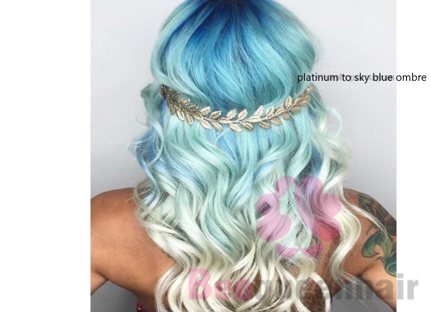 platinum to sky blue ombre