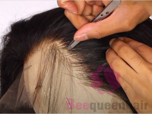 pluck the wig to remove any knots