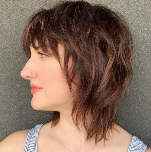 Shaggy Layered Bob With Bangs