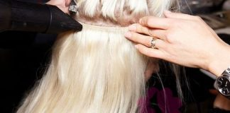 the weft should sit in between the bun and above your ears